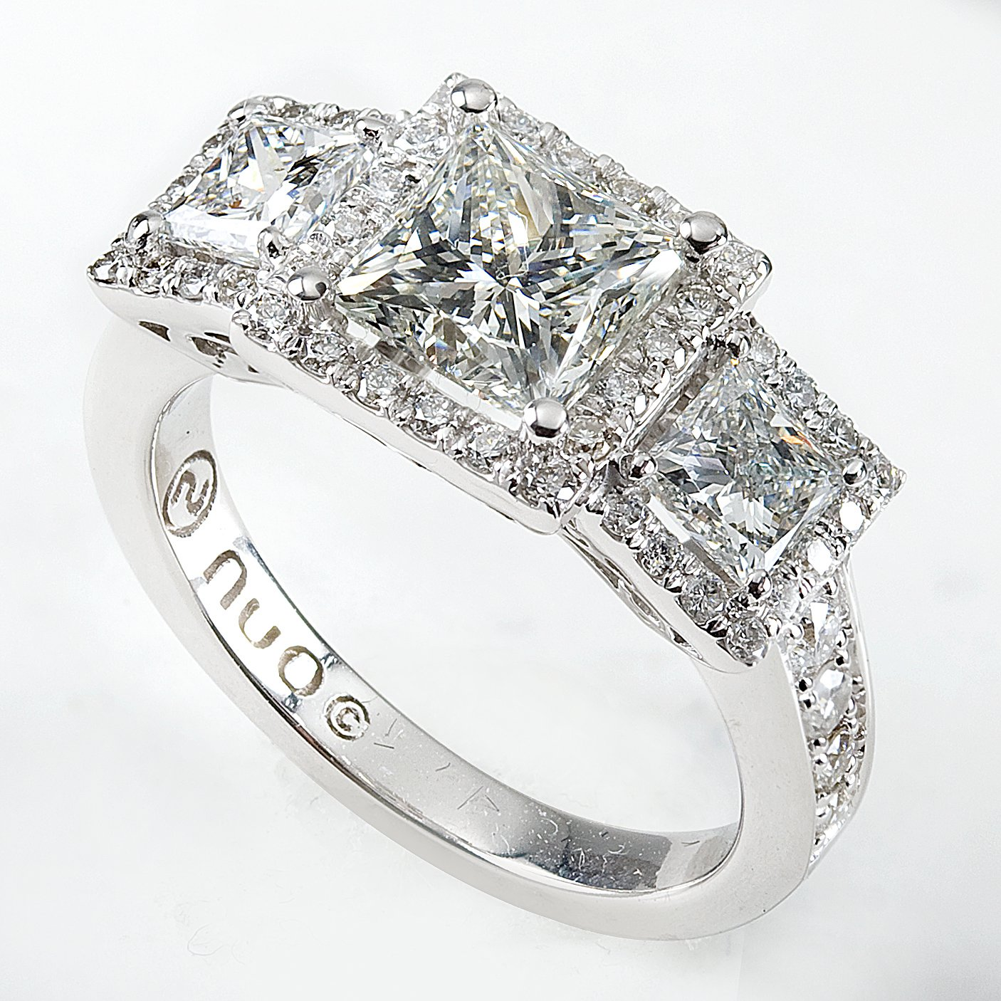 Halo 3 Stone Princess Cut Diamond in 14K White Gold 2 3/4ct TW