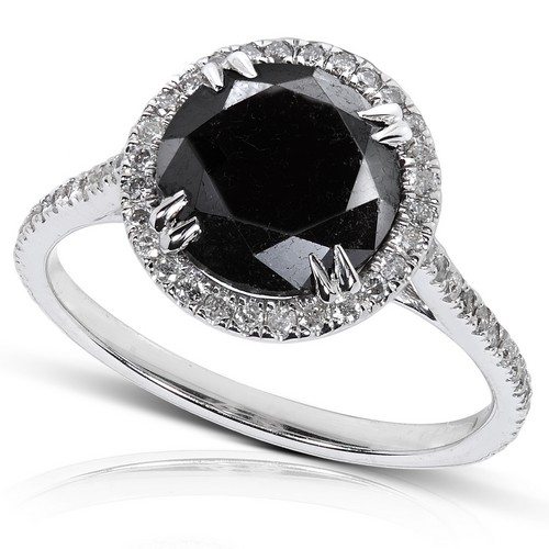 Black and White Diamond Halo Ring 14K White Gold