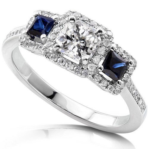 Diamond and Blue Saphire Engagement Ring 14K White Gold