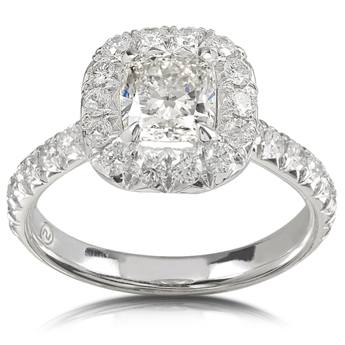 Cushion Cut Egagement Ring in 14K White Gold 1 3/4ct TW