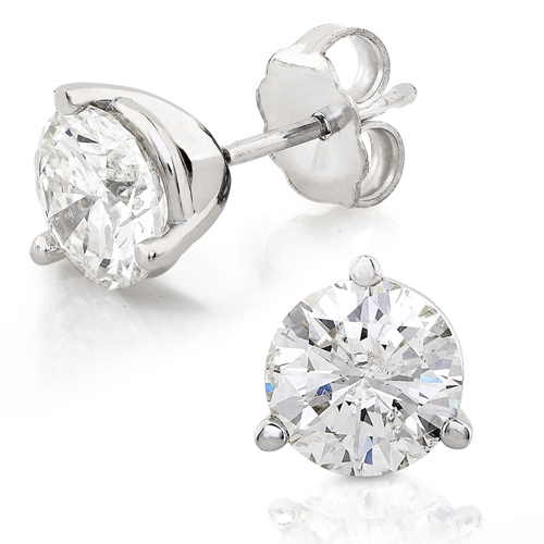 Round Brilliant Diamond Studs set in 14K White Gold