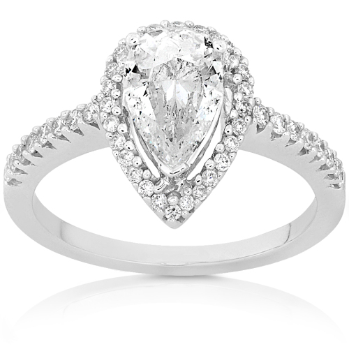 Pear Shape Diamond Engagement Ring in 14K White Gold - Click Image to Close