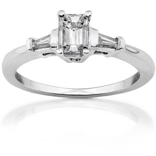 Emerald Cut Diamond Ring in 14k White Gold 1/2ct TW
