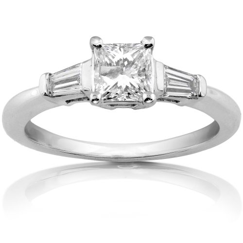 Princess Cut Diamond Ring in 14k White Gold 1ct TW - Click Image to Close