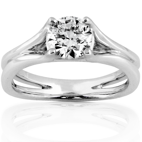 Solitaire Diamond Engagement Ring in 14K White Gold 3/4ct TW
