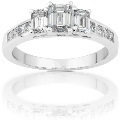 3 Stone Emerald Cut Diamond Ring in 14k White Gold