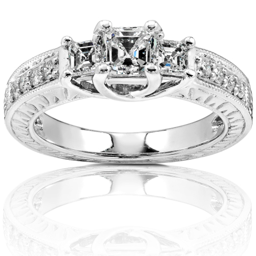Three Stone Asher Cut Diamond Ring