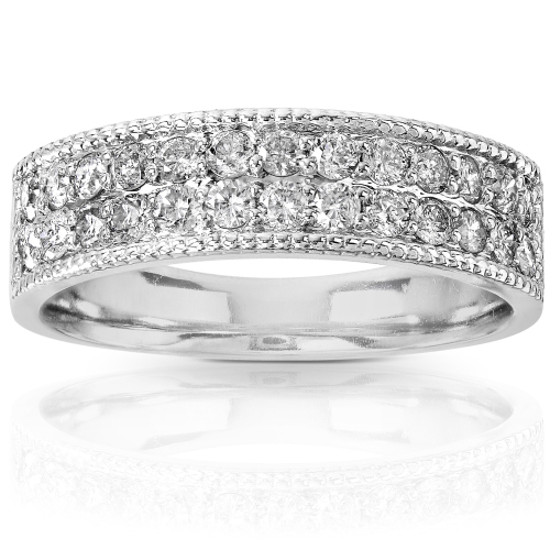 Round Brilliant Diamond Band in 14k White Gold