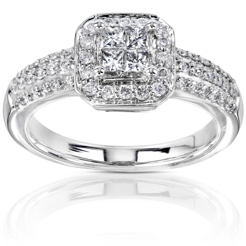 Princess Cut Diamond Ring in 14k White Gold 1/2ct TW - Click Image to Close