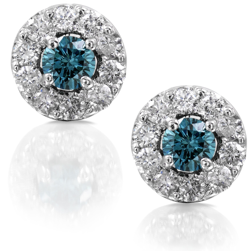 White and Blue Diamond Studs in 14K White Gold 3/8ct TW - Click Image to Close