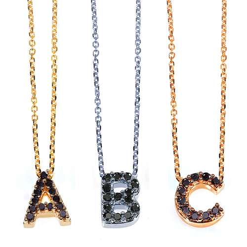 "Black Diamonds Initials Pendants on 10K Gold and 16"" Chain"