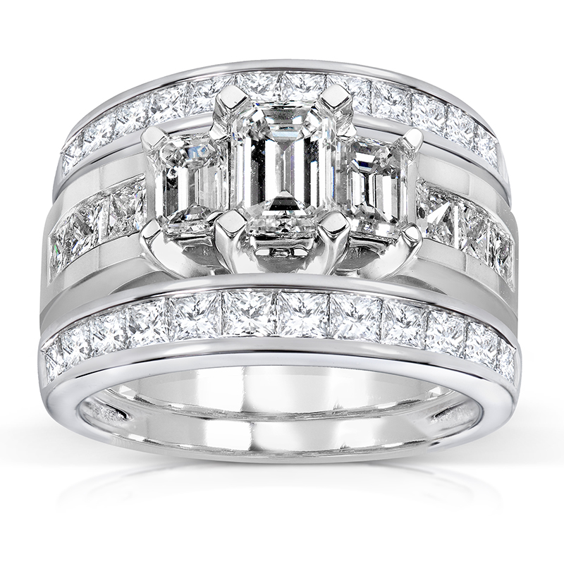 lab ct cut bridal wedding princess diamond set created halo