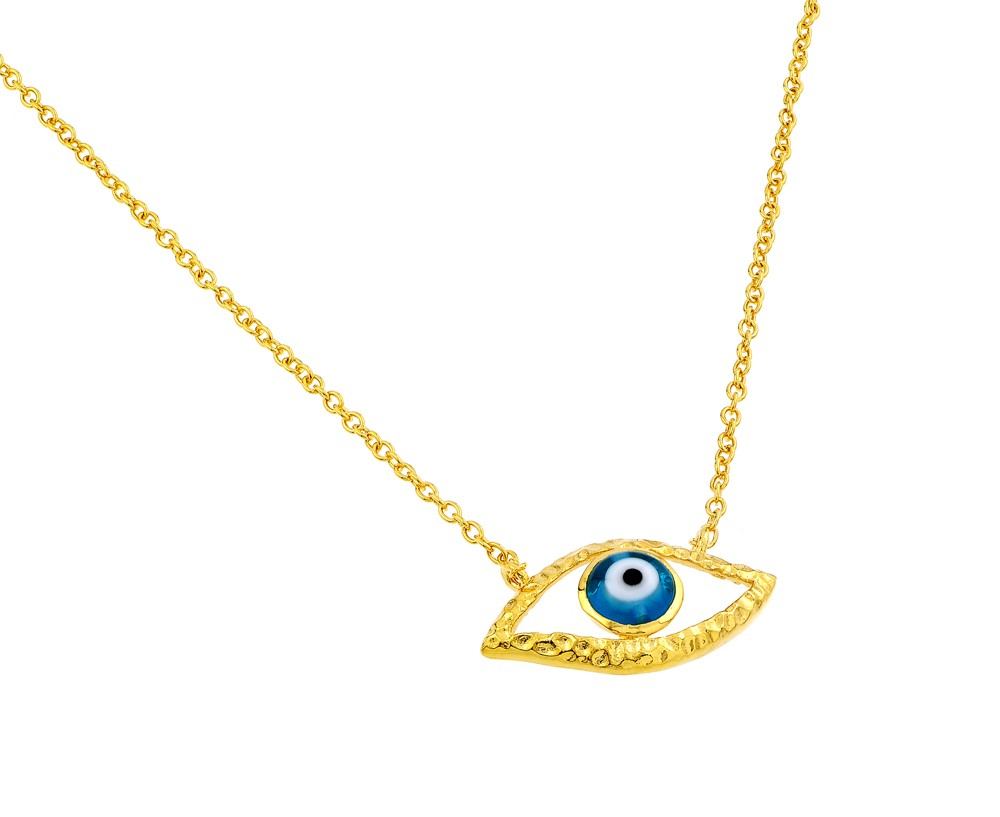"Sterling Silver ""EVIL EYE"" Necklace Yellow Gold Plated"