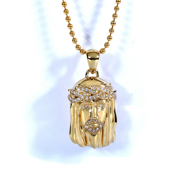 Mini Jesus Face 14K Yellow Gold 1/3ct TW