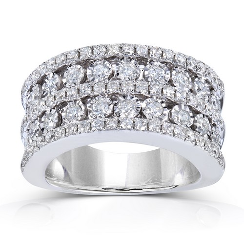 10K White Gold Wide Band 1.50ct TW