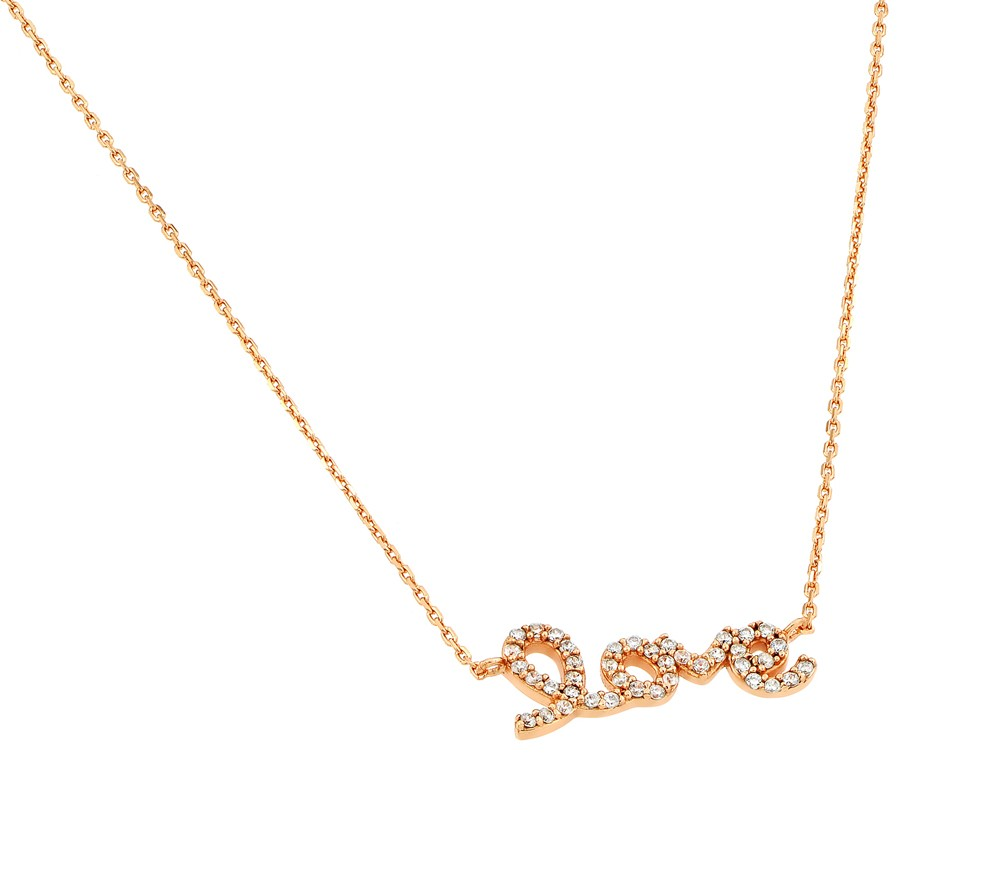 "Sterling Silver Script ""LOVE"" Necklace Rose Gold Plated"
