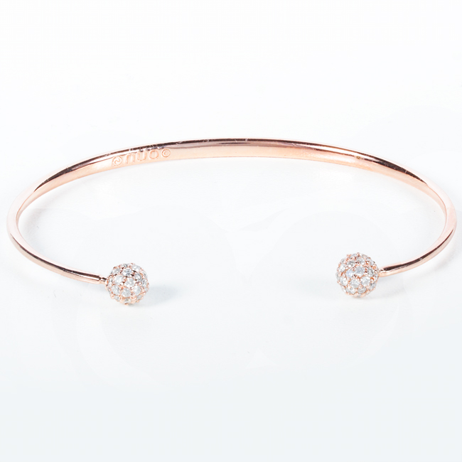 14K Rose Gold Ladies Diamond Bangle 1ct TW