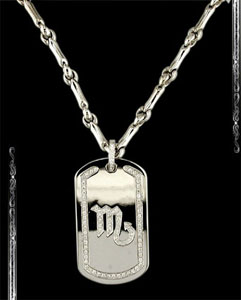 Scorpio Zodiac Sign Dogtag in 14K White Gold