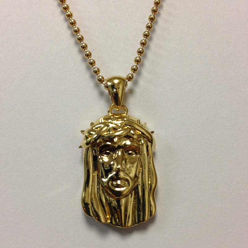 Sterling Silver 14K Yellow Gold Plated Mini Jesu Face
