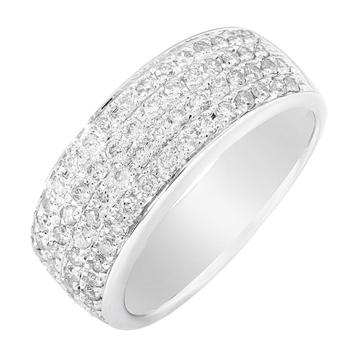 Wide Round Diamond Band in 14k White Gold 1 ct TW