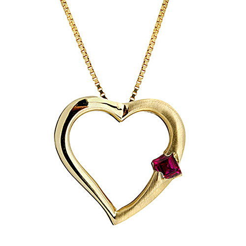 Heart Shaped Pendant with a Ruby set in 14k Yellow Gold