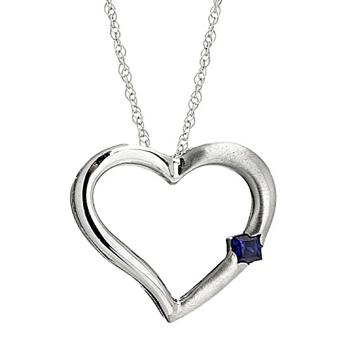Heart Shaped Pendant with Blue Sapphire set in 14k White Gold