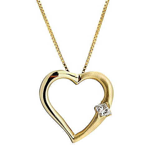 Diamond Heart Shaped Pendant in 14k Yellow Gold
