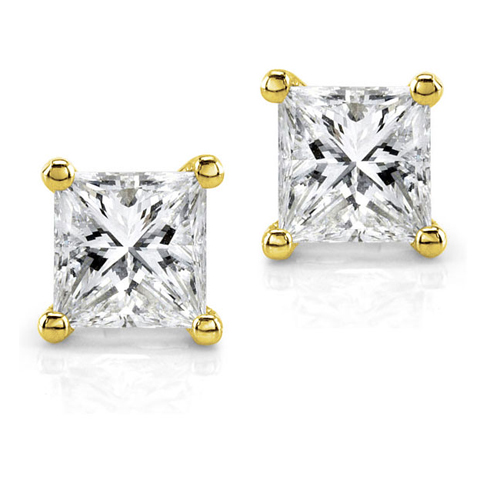 Diamond Princess Stud Earrings in 14K Yellow Gold 3/4ct TW