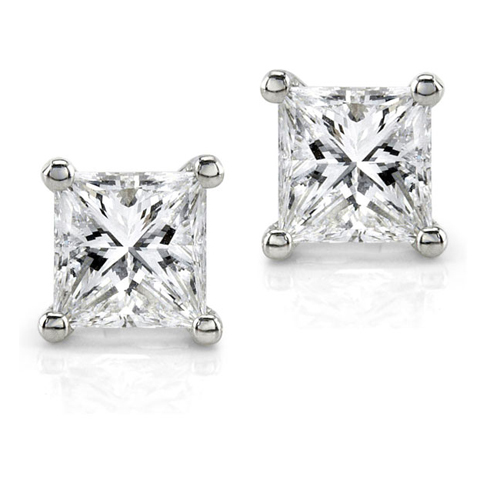Princess-cut Diamond Stud Earrings in Platinum 1ct TW - Click Image to Close