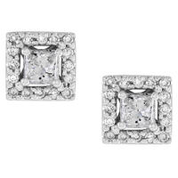 Princess and Round Diamond Earrings set in 14K 1/2ct TW
