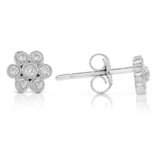 Diamond Floral Earrings 14k White Gold 0.15ct TW