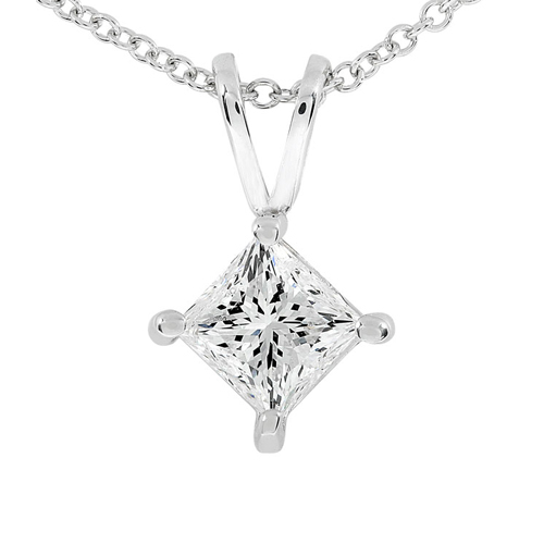 Princess Cut Diamond Solitaire Pendant in 14KWhite Gold 1/3ct TW