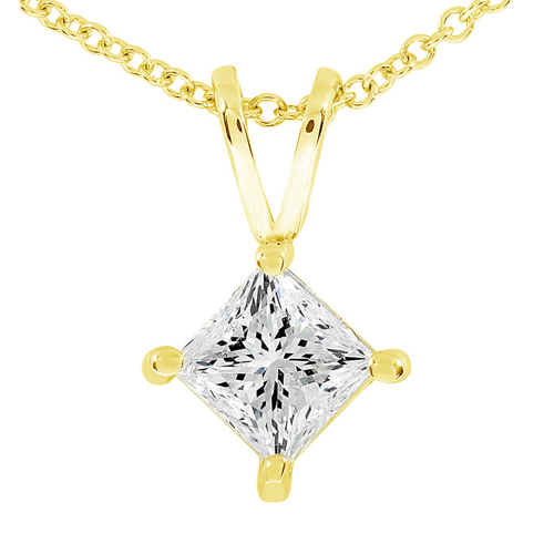 Princess Cut Diamond Solitaire Pendant in 14K 1/3ct TW