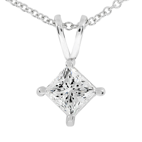 Princess Cut Diamond Solitaire Pendant in 14K, 1/2ct TW