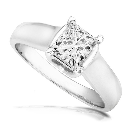 Princess-cut Diamond Solitaire Ring in 14k White Gold 1ct