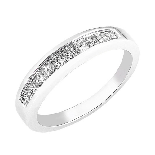 Princess Cut Diamond Band in14k White Gold 1/3ct TW