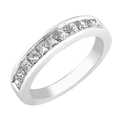 Princess Cut Diamond Band 14K White Gold 1ct TW