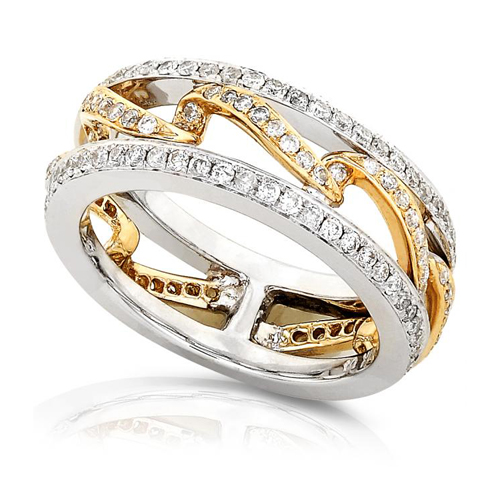Round Diamond Ring in 14k Two-Tone Gold 3/4ct TW
