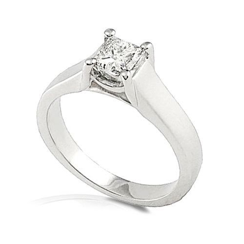 Princess-cut Diamond Solitaire Ring in 14k White Gold 3/4ct