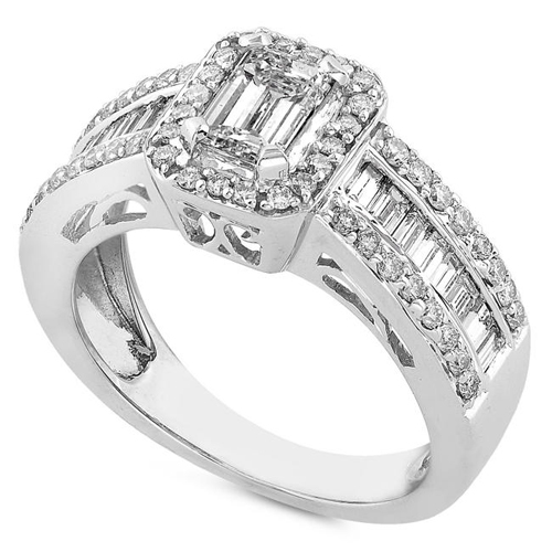 Emerald cut Engagement Ring in 14k White Gold 1.20ct TW