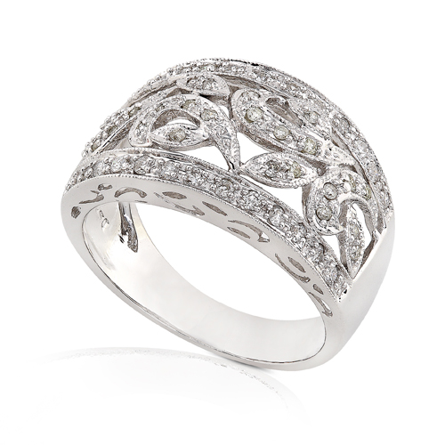 Wide Diamond Band in 14k White Gold 1/2ct TW