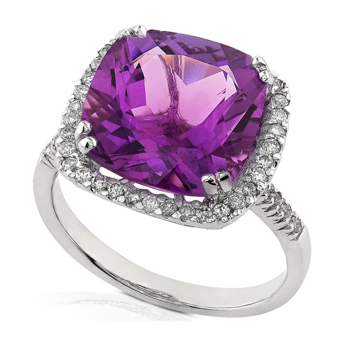 Diamond and Amethyst Ring set in 14k White Gold