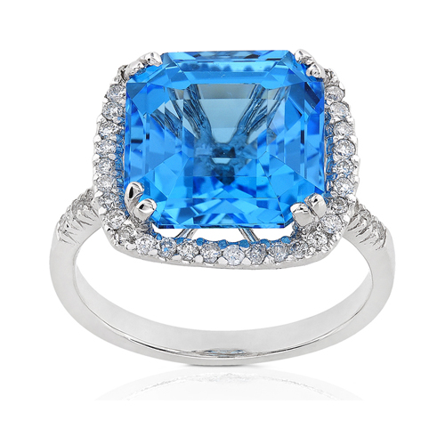 Diamond and Blue Topaz Ring set in 14k White Gold