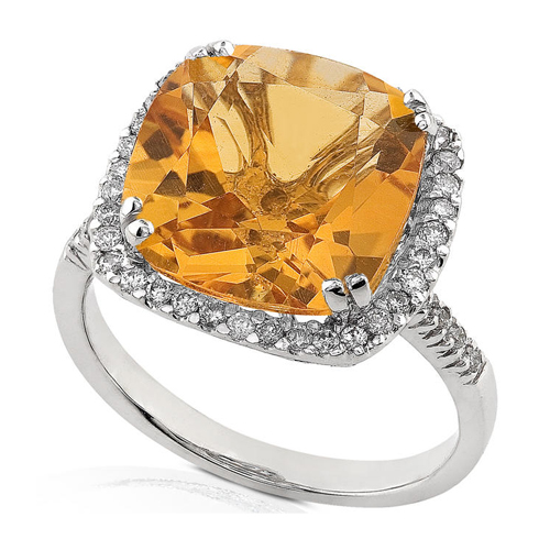 Diamond and Citrine Ring set in 14k White Gold