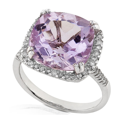 Diamond and Lavender Amethyst Ring set in 14k White Gold