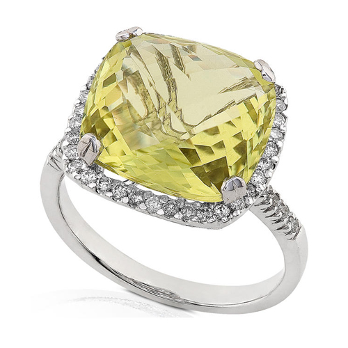 Diamond and Lemon Quartz Ring set in 14k White Gold