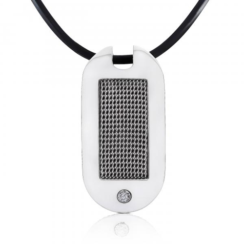 Stainless Steel Men's DogTag with a 1/10ct Diamond