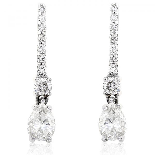Pear Shape Diamond Drop Earrings in 14K White Gold 5/8ctTW