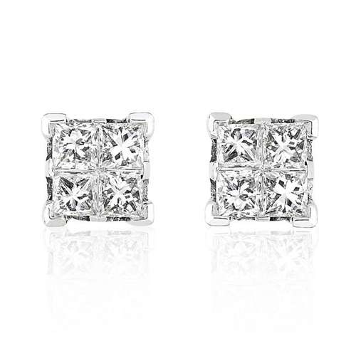 Invisible Set Diamond Stud Earrings In 14k White 3 8ct Tw
