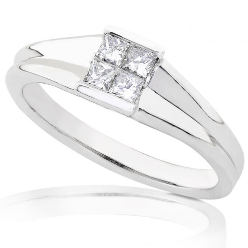 Princess-cut Diamond Ring in 14k White Gold 1/4ct TW